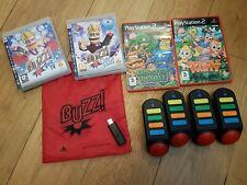 4 Juegos De Buzz quiz tv PS3 con 4 receptor inalámbrico zumbadores + usb Dongle Paquete