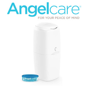 Angelcare Nappy Disposal System Starter Set Baby Nappy Bin With 1 Refil - White