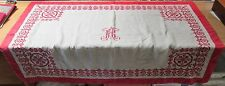Antique European Linen Tablecloth or Wall Hanging Embroidered Large R H Monogram