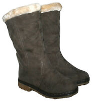 LADIES BROWN MID-CALF LENGTH PULL ON BOOT WITH FUR COLLAR AND LINING SIZES 3-8