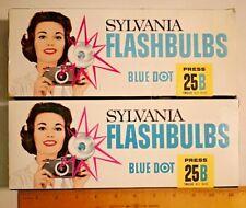 2X Vintage Box 12 Sylvania Blue Dot Press 25B Flashbulbs  --  1150