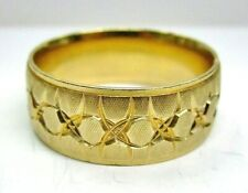 Massive Solid 14k Yellow Gold Wedding Band RING w/ Design size 14.5 ~ 9.8mm Wide