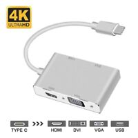 Type C to DVI HDMI VGA USB Video Cable Adapter for Macbook Laptop to TV Monitor