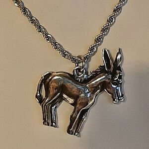 """DONKEY Pewter Pendant Charm / 24"""" STAINLESS ROPE CHAIN NECKLACE"""
