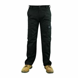 Mens Cargo Combat Work Trousers Size 30 to 48 Black Working cargo trousers