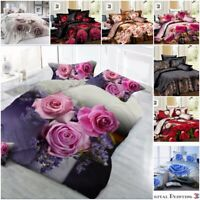 3D Duvet Cover set High Quality Bedding with Fitted Sheet Pillow Case 18 Designs