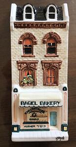 Hazle Boyle Ceramics A Nation of Shopkeepers Plaque Signed BAGEL BAKERY