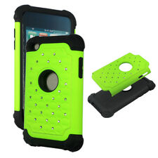 Turquise Green Hybrid Rhinestone silicon Apple iPod Touch 4th gen Cover Case