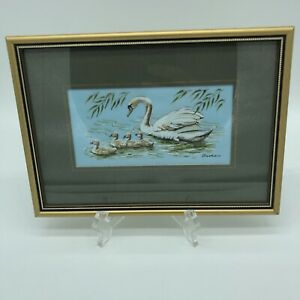 """Cash's Collector Range Series Framed Woven Silk Picture """"Mute Swan"""" England"""