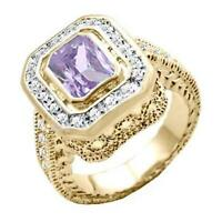 18K GOLD EP 4.95CT DIAMOND SIMULATED AMETHYST RING sz 10 or T 1/2