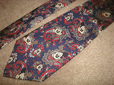 Mickey Mouse 100% Silk Neck Tie Navy Blue Red Silver Disney Balancine Tie Works
