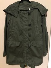 MONCLER HOODIED TRENCH COAT OLIVE GREEN COLOR SIZE 4