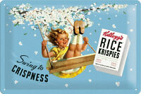 Kelloggs Rice Krispies Metal Sign Signboard 3D Embossed Arched Tin 20 x 30 Cm