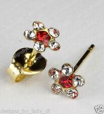 Studex Gold Earrings Tiny Tips Hypoallergenic Clear Crystal 5mm Daisy Red Center