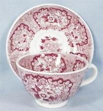 Oriental Pink Red Transferware Cup & Saucer Societe Ceramique Soft Paste Antique