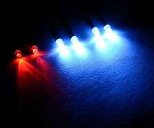 2x Red 4x White R/C Buggy Car Truck LED 3mm Light Kit LED's Switch + PP3 Clip