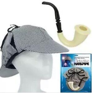 Detective Sherlock Holmes HAT & PIPE Set Watson Play Theatre Costume Play Dressu