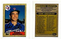 Bobby Valentine Signed 1987 Topps #118 Card Texas Rangers Auto Autograph