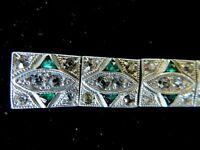 Vintage Art Deco Panel Bracelet Green & White Rhinestones