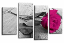 Floral Rose Canvas Wall Art Picture Print Flower Grey Purple Black White 4 Panel