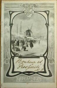Art Nouveau 1904 Dutch Province Postcard: Friesland, Netherlands - Windmill