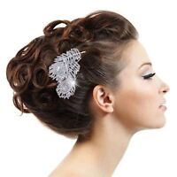BRIDAL WEDDING HAIR COMBS DIAMANTE CRYSTAL RHINESTONE COMB PEACOCK FEATHER TIARA