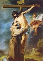 Oil Bartolome Esteban Murillo Saint Francis embracing Christ on the Cross angels