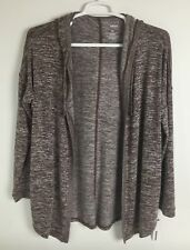 Sonoma Womens Open Front Hooded Cardigan Top XL Stretch Pale Maroon Print (U06)