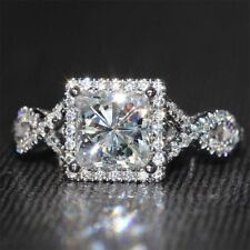 2.05 Ct Princess Cut Halo Moissanite Engagement Wedding Ring 9K White Gold