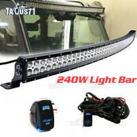 "For Kawasaki KRX 1000 Roof 42"" 240W Curved LED Work Light Bar with rocker switch"