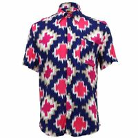 Mens Loud Shirt Retro Psychedelic Funky Party TAILORED FIT Pink Abstract