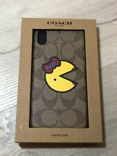 Coach Iphone XS MAX Case In Signature Canvas With Ms. Pac-Man!