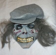 Creepy Scary Rubber Latex Halloween Mask with Hat and Hair Gray