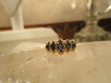 14K Gold, 5 Natural Marquise-Shaped Graduated Sapphire Ring Size 6