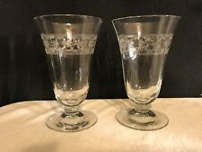 Vintage Pair Of Juice Glasses Embossed Deco