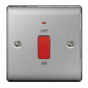 BG Electrical NBS74 45amp Metal Brushed Steel Square Cooker Control Unit ...