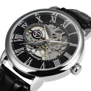 Men's Watch Analogue Mechanical Water Resistance Leather Strap Casual Wristwatch