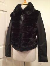 INC International Concepts Jacket Faux Leather Fur Motorcycle Vegan Black S NWT