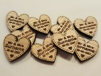 PERSONALISED WOODEN LOVE HEARTS TABLE DECORATIONS FAVOURS WEDDING VINTAGE RUSTIC