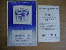 1957/8 Bury v Workington - League Division 3 + Supporters Club Flyer/Insert