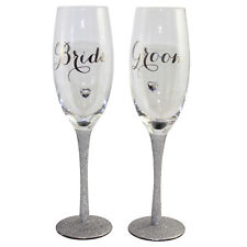 Bride & Groom Glitter Wedding Day Gift Champagne Flutes Glass Set Of 2