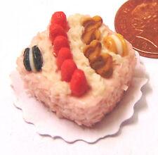 1:12 TH scala quadrata per torta + FRAGOLA glassa DOLL HOUSE miniatura Accessorio T10