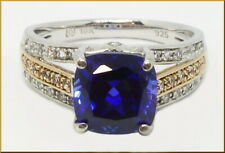 """10K gold & sterling silver Lady's authentic """"Lorenzo"""" blue sapphire & topaz ring"""