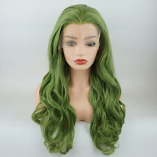 Meiyite Hair Wavy Long 26inch Green Mix Realistic Synthetic Lace Front Wig