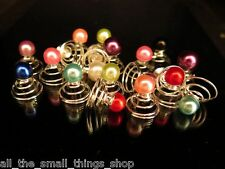 Coloured Pearl Hair Pins Twists Coils Springs Bobby Clips Grips Bride Bridesmaid