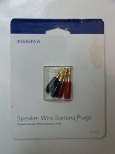 NEW* Insignia  Speaker Wire Banana Plugs (4-Count) - Red/Black