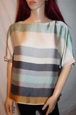 ZARA BROWN GREEN STRIPE SILKY  STRIPED TOP SIZE L LARGE REF 2215/064
