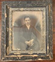 "LARGE ANTIQUE WOOD PICTURE FRAME WITH PORTRAIT OF YOUNG MAN 25.5"" x 29.5"""