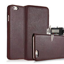 SLIM Genuine Leather Wallet Card Holder Thin Case Cover for iPhone X & 8/7 Plus
