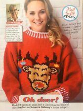KNITTING PATTERN Ladies Reindeer Christmas Jumper Hang Baubles Rudolph Sweater